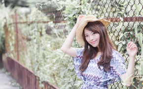 Picture girl, hair, hat, dress, Asian