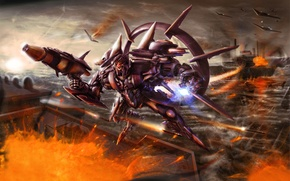 Picture war, explosions, transformer