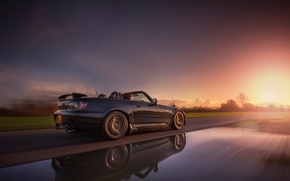 Picture road, car, machine, the sun, sunset, reflection, background, movement, widescreen, Wallpaper, speed, track, blur, wallpaper, …