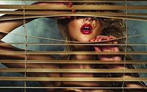 Picture girl, lipstick, lips, blinds, blonde