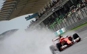 Picture rain, ferrari, formula 1, tribune, kimi raikkonen also, raikkonen also, kimi, f14t