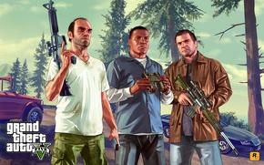 Picture Michael, Grand Theft Auto V, Rockstar Games, Trevor, Franklin
