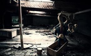Picture light, room, monster, devastation