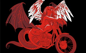 Picture girl, wings, vector, motorcycle