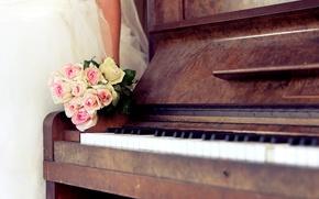 Wallpaper piano, wedding, bouquet, roses, dress