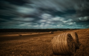 Picture field, autumn, the sky, landscape, clouds, nature, stack, hay, frowning, stack, Wallpaper from lolita777