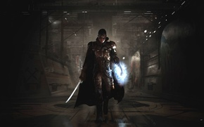 Wallpaper cloak, The Technomancer, Spiders, current, sword, armor, mask, Focus Home Interactive, fighter