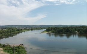 Picture river, the village, condom, between kuzedeyevo