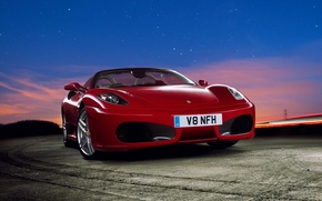 Picture F430, Ferrari, Red, Sky, Stars, Sunset, Scuderia, Spider, Supercar