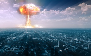 Picture the explosion, the city, bomb