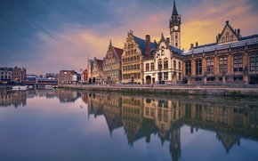 Picture bridge, river, home, channel, Belgium, Ghent