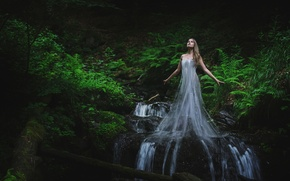 Picture forest, water, girl, stream