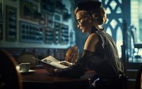 Picture reading, blond, black dress, Elegant, retro woman