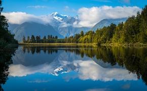 Wallpaper reflection, mountains, lake Matheson, Southern Alps, New Zealand, lake, New Zealand, Southern Alps, Lake Matheson, ...