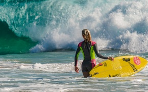 Picture wave, Board, Surfing, girl