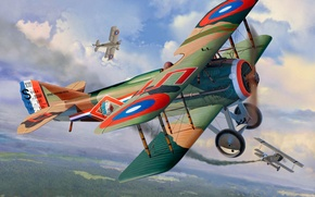 Picture war, art, airplane, painting, WWI Fighter SPAD XIII