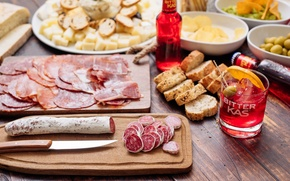 Picture bread, meat, drink, sausage, appetizer