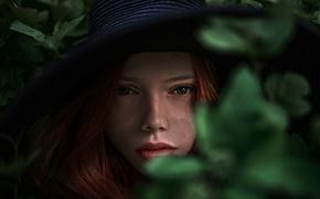 Picture leaves, freckles, hat, Kate, Katyusha, George Chernyadev, Catherine Jasnogorodska