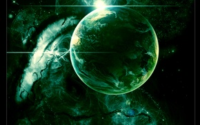 Picture lights, green, planet, Sci Fi