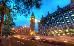 Picture road, night, lights, London, london, Big Ben at Dusk