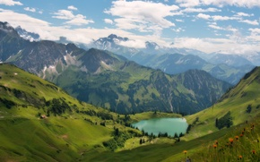 Picture the sky, clouds, Alps, mountain lake