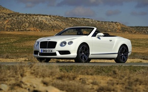 Picture Bentley, Continental, White, Convertible, Lights, GTC, The front