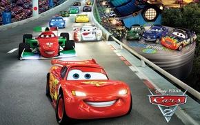 Wallpaper pixar, lightning, Cars 2, track, cars 2, sports cars