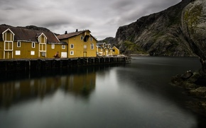 Picture sea, mountains, rocks, home, village, Norway, the fjord
