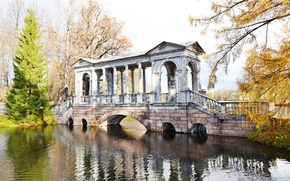Picture The sun, Autumn, Pond, The beauty around, Pushkino, Tsarskoye Selo, Marble bridge