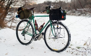 Wallpaper bike, bags, snow, winter, lights, Cup, adventure, beer