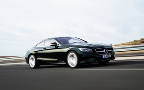 Picture Asphalt, Mercedes-Benz, Coupe, In motion, Machine, S-Class, Side view, Road, Mercedes, Car
