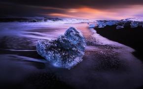 Picture sea, night, ice