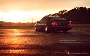 Picture Lexus, Black, Color, Sunset, JDM, Stance, Low, Rear, LS 430