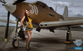Wallpaper girl, the plane, girl, legs, aviation, air, MMO, Wargaming.net, World of Warplanes, WoWp, BigWorld, arcade, ...