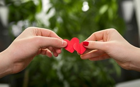 Picture love, red, background, sign, Wallpaper, mood, woman, heart, blur, hands, symbol, wallpaper, male, love, lovers, ...