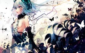 Picture girl, butterfly, magic, anime, crown, art, renkarua