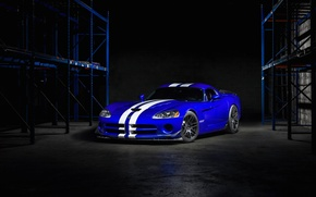 Picture white, srt, viper, dodge, blue, stripes