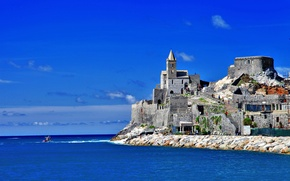 Picture sea, the sky, house, people, tower, boat, Italy, Church, Italy, Cinque Terre, Portovenere, San Pietro, ...