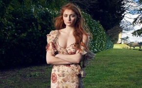 Wallpaper Sophie Turner, red, nature, grass, actress, the bushes, trees, Dima Hohlov, hairstyle, Net-A-Porter, Sophie Turner, ...