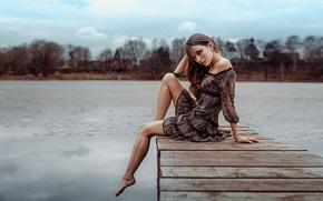 Picture girl, pose, lake, model, portrait, dress, legs, sexy, beautiful, the beauty, the bridge, water, beauty, …