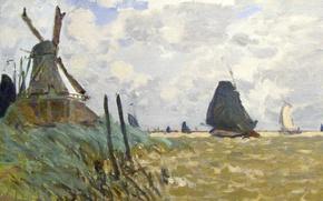 Picture landscape, picture, Claude Monet, Windmill near Zaandam