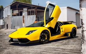 Picture yellow, supercar, Lamborghini Murcielago, Lamborghini, Parking space