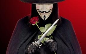 Wallpaper rose, hat, gloves, dagger, black background, cloak, red background, V for Vendetta, and he's beautiful ...