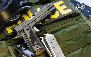 Wallpaper weapons, kimber, police, stores, flashlight, gun