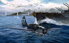 Picture Battle, The battle, Ships, Art, Bomber, Deck, American, Helldiver, Helldiver, Curtiss SB2C, Dive