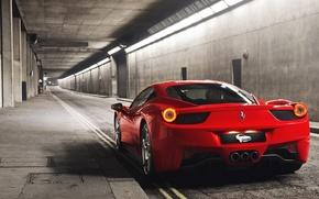 Picture red, Ferrari, red, sports car, Ferrari, 458, tunnel, Italia