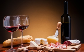 Picture wine, red, bottle, cheese, glasses, bread, meat, sausage, baton, Camembert