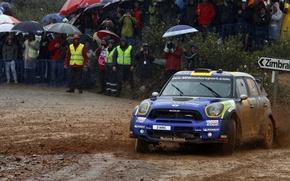 Picture Blue, Sport, People, Rain, Dirt, Mini Cooper, Rally, MINI, Mini Cooper