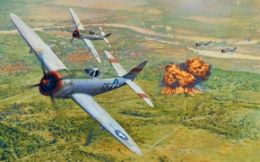 Picture the sky, fire, attack, figure, explosions, goal, art, the bombing, P-47, WW2, American, Republic P-47 …