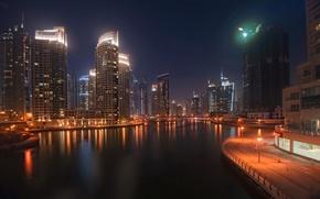 Picture night, the city, coast, home, skyscrapers, Dubai, Arab Emirates